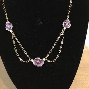 Gold purple flowers necklace